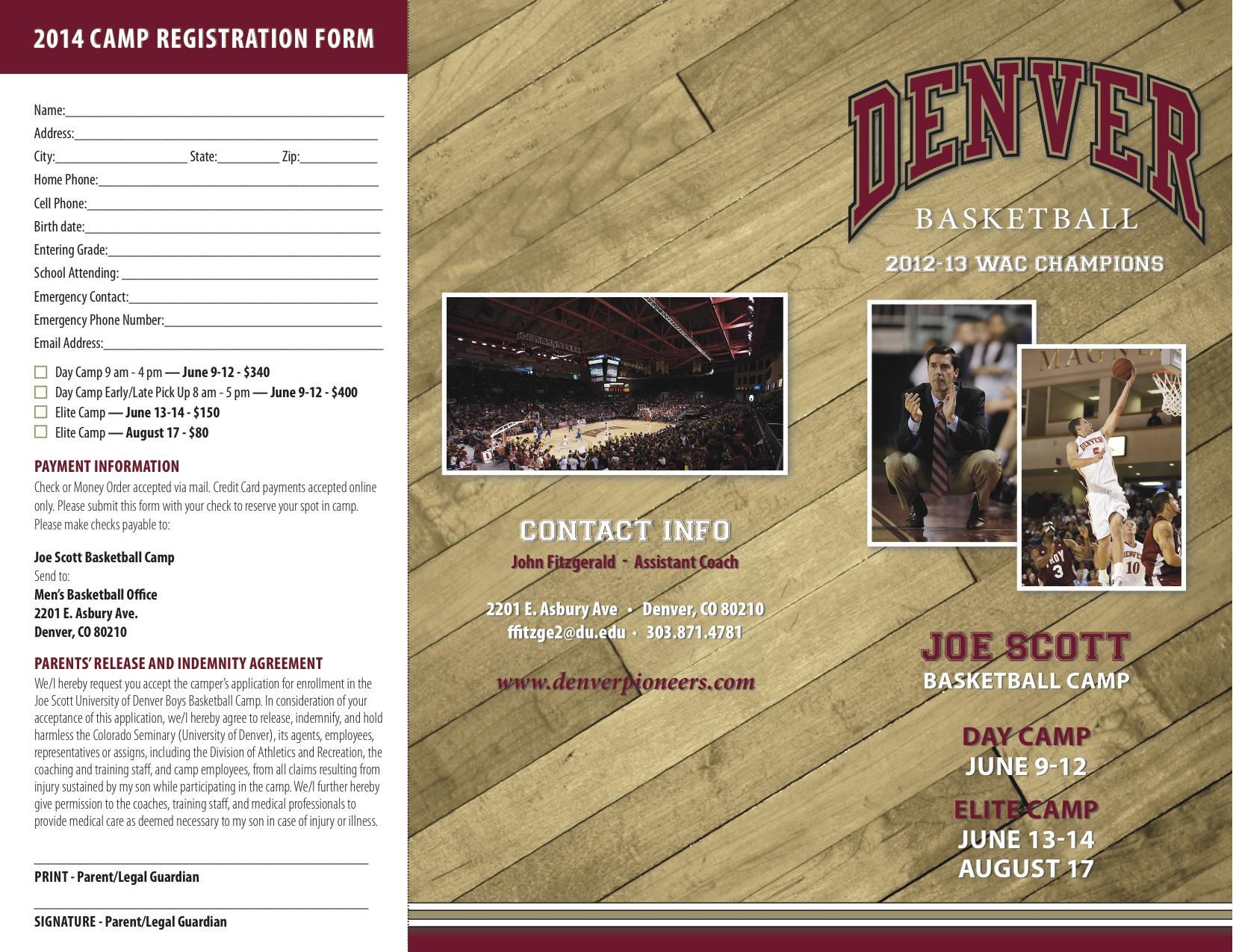 University of Denver – Joe Scott Basketball Camps 2014 -Elite Camp  June 13-14