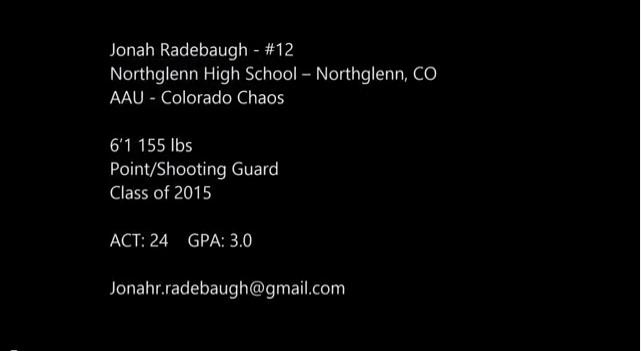 Jonah Radebaugh – Class of 2015 – Junior Highlights – Northglenn – Colorado Chaos
